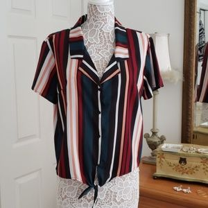 Blouse Striped with tie front